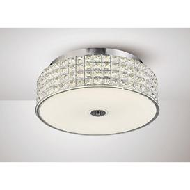 image-Diyas IL80021 Hawthorne LED Large Round Flush Ceiling Light In Chrome - Dia: 400mm