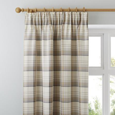 image-Balmoral Ochre Pencil Pleat Curtains Brown / Grey