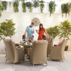 image-Nova Garden Furniture Thalia Willow Rattan 6 Seat Round Dining Set