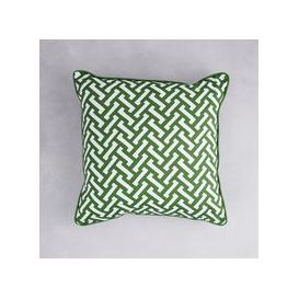 image-Florence Broadhurst Zig Zag Cotton Cushion (colour: Grass, size: 40x40 cm)