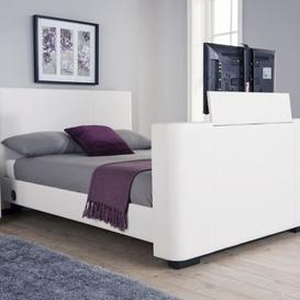 image-Newark King Size TV Bed White Faux Leather