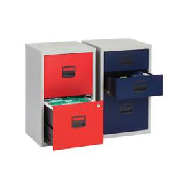 image-Bisley A4 Home Office Filing Cabinet, Grey/Red
