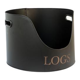image-Iron & Clay - Round Log Holder - 30cm - Iron