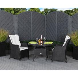image-2 Seat Rattan Garden Dining Set With Small Round Table in Black &amp White - Riviera