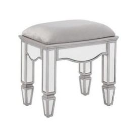 image-Elysee Glass Dressing Table Stool In Mirrored