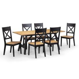image-Julian bowen Hockley Oak and Black Dining Table and 6 Chairs