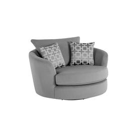 image-Grey Fabric Sofas - Swivel Chair - Seattle Range - Oak Furnitureland