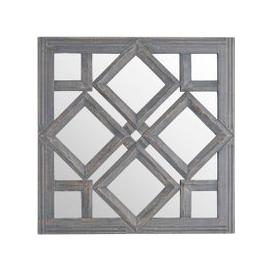 image-Hill Interiors Geometric Diamond Grey Wall Mirror - 60cm x 60cm
