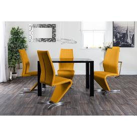 image-Trapp Dining Set with 4 Chairs Metro Lane Colour (Chair): Mustard Yellow, Colour (Table Top): White, Colour (Table Base): White