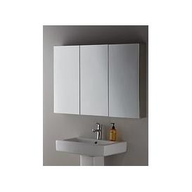 image-John Lewis & Partners Triple Mirrored Bathroom Cabinet, Silver
