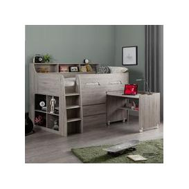 image-Fenton Midsleeper Children Bed In Grey Oak With Storage And Desk