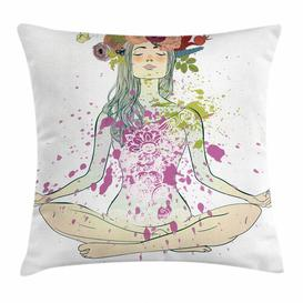 image-Shamas Yoga Girl Floral Wreath Lotus Outdoor Cushion Cover