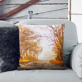 image-A Road Through the Woods in Abstract Cushion with Filling
