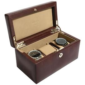 image-Dulwich Designs Windsor Leather 3 Piece Watch Box, Brown