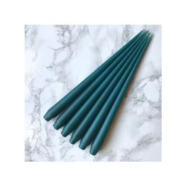 image-Hand Dipped Taper candles - Teal (6 pack)