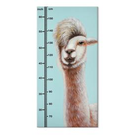 image-Hand Painted Childrens Height Chart Canvas- Alpaca