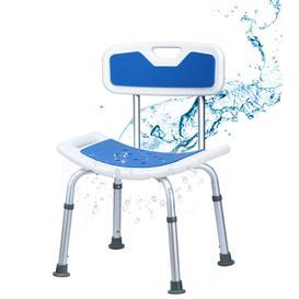 image-Adjustable Padded Shower Chair Seat Bathroom Tub Stool W/ Backrest & Handles