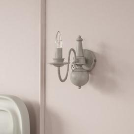 image-Aubervilliers 1-Light Candle Wall Light Lily Manor Finish: Grey Taupe Metal
