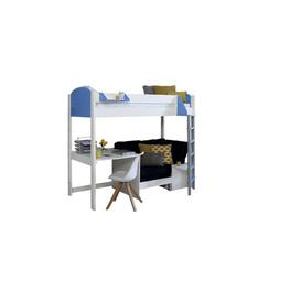 image-Trevino Single High Sleeper Loft Bed with Shelf and Desk Isabelle & Max Colour (Bed Frame): White, Colour (Fabric/Accessory): Black