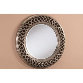 image-Ansley Silver Braided Round Wall Mirror 114cm, Gold