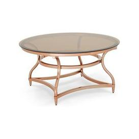 image-Kelso Coffee Table In Smoke Glass With Rose Gold Frame