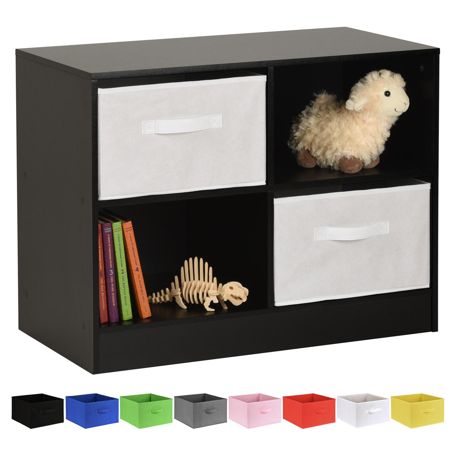 image-Hartleys Black 4 Cube Kids Storage Unit & 2 Handled Box Drawers - White