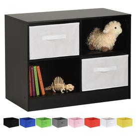 image-Hartleys Black 4 Cube Kids Storage Unit & 2 Handled Box Drawers - White