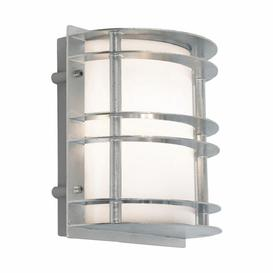 image-Norlys ST/FLU E27 GAL O Stockholm 1 Light Flush Wall Light - Galvanised - With Frosted Glass