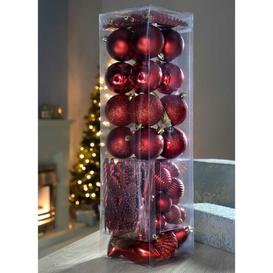 image-72 Piece Shatterproof Deluxe Christmas Tree Ball Ornament Set Three Posts Colour: Red