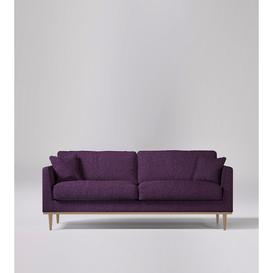 image-Swoon Norfolk Three-Seater Sofa in Aubergine Soft Wool With Light Feet