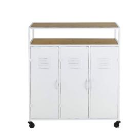 image-3-door bar unit in white metal and solid pine
