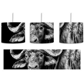 image-Dark Water Buffalo 1-Light Drum Pendant East Urban Home Shade Colour: Black/White