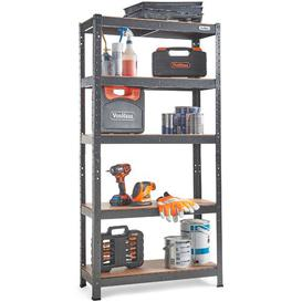 image-Akilah 5 Tier Garage Shelving ? Metal Racking, Steel & MDF Boltless Shelves - Massive 875kg Capacity 175KG per Shelf  150cm H 75cm W 30cm D Symple St