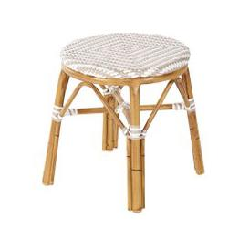 image-Professional White and Beige Woven Resin Garden Stool Kafe Business