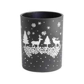 image-Libra Christmas Winter Scene Candle Holder Black - Xmas-18