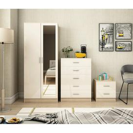 image-Eva 3 Piece Bedroom Set Zipcode Design Colour: Gloss Cream/Oak