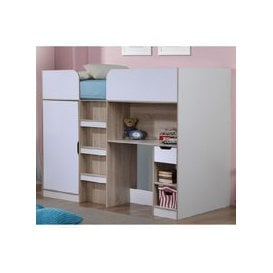 image-Cameo Children High Sleeper Bed In White And Oak With Storage