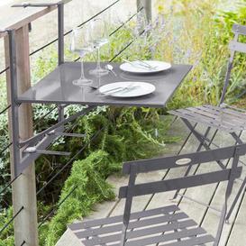 image-Atla Folding Steel Balcony Table Sol 72 Outdoor Colour: Slate, Size: 83cm H x 60cm W x 72cm L