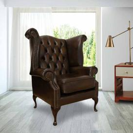image-Chesterfield Queen Anne High Back Wing Chair UK Manufactured&amphellip