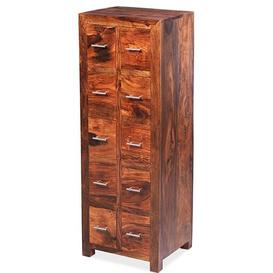 image-Mumbai Sheesham Indian Furniture 10 Drawer CD Unit