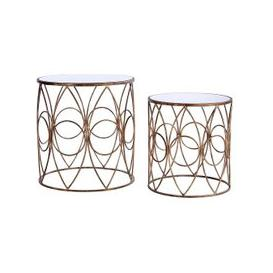 image-Parsian Nest of Tables In Mirror Top With Gold Metal Frame