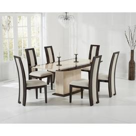 image-Assisi 180cm Cream Pedestal Marble Dining Table with Raphael Chairs