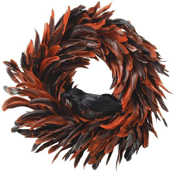 image-Libra Feather Orange Wreath - Xmas-18