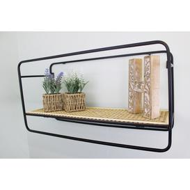 image-Large Wall Hanging Shelf Unit In Metal Weave Effect