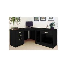 image-Small Office Corner Desk Set With 3+1 Drawers, Printer Shelf & CPU Unit (Black Havana)