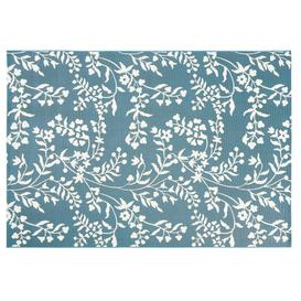 image-Teal Outdoor Rug with White Floral Print 160x230