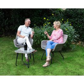 image-Rattan Garden 2 Seater Bistro Set in Grey - Vasto - Rattan Direct