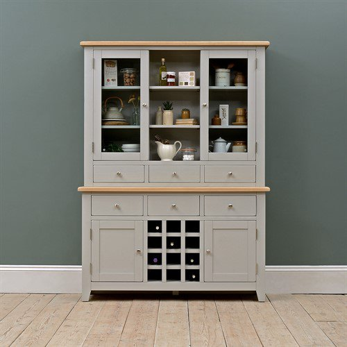 image-Chester Grey Dresser with Wine Rack