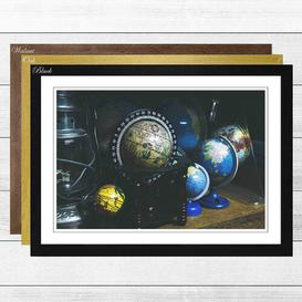 image-'Globe World Map (1)' Framed Photographic Print Big Box Art Frame Colour: Oak