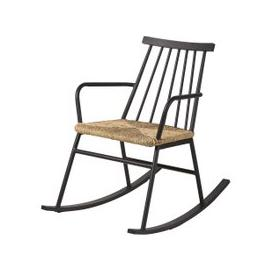 image-Braided Rattan Effect Resin Outdoor Rocking Chair Tecoma